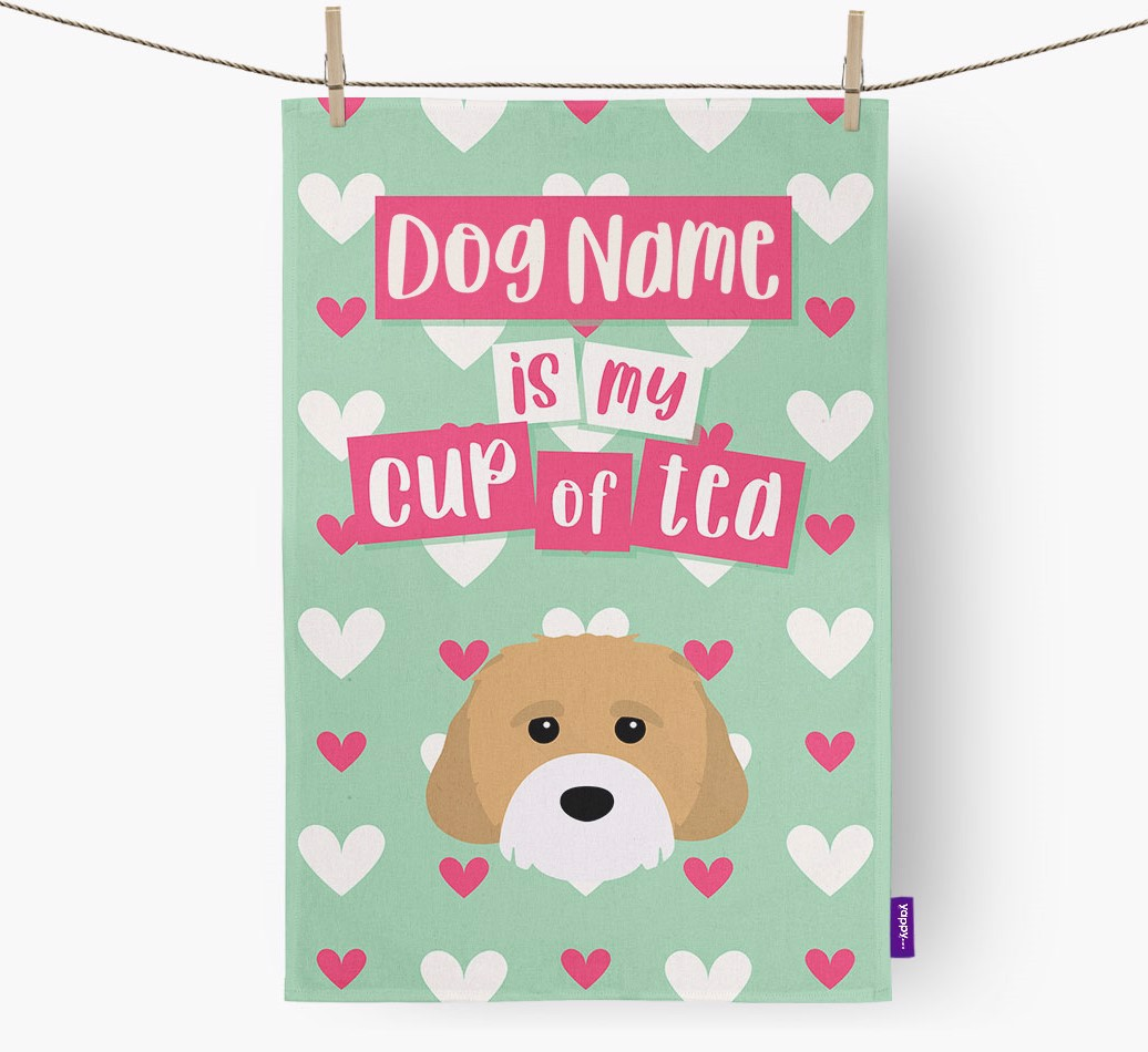 '{dogsName} Is My Cup Of Tea' Tea Towel with Cavachon Icon