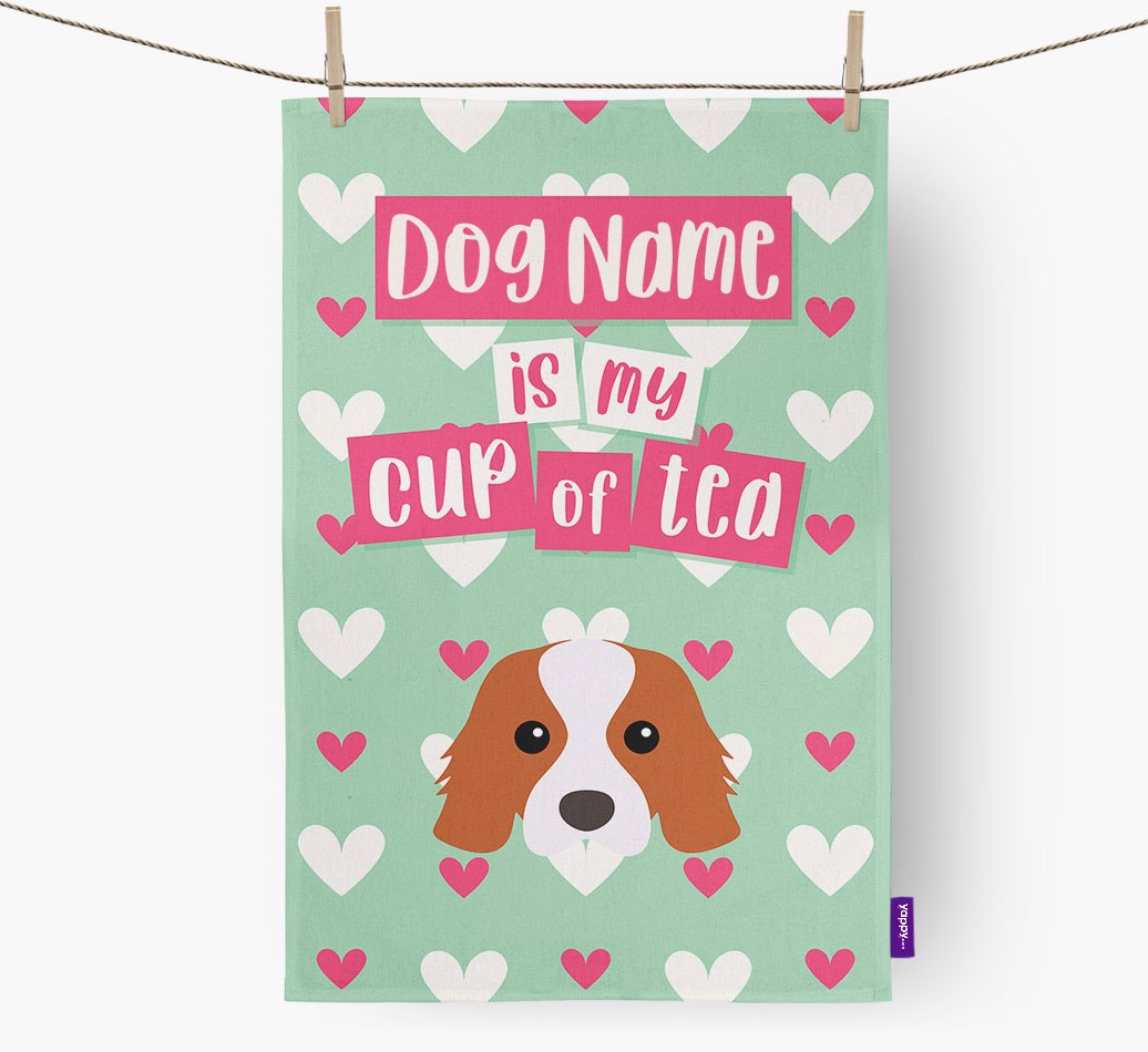 '{dogsName} Is My Cup Of Tea' Tea Towel with Cavalier King Charles Spaniel Icon