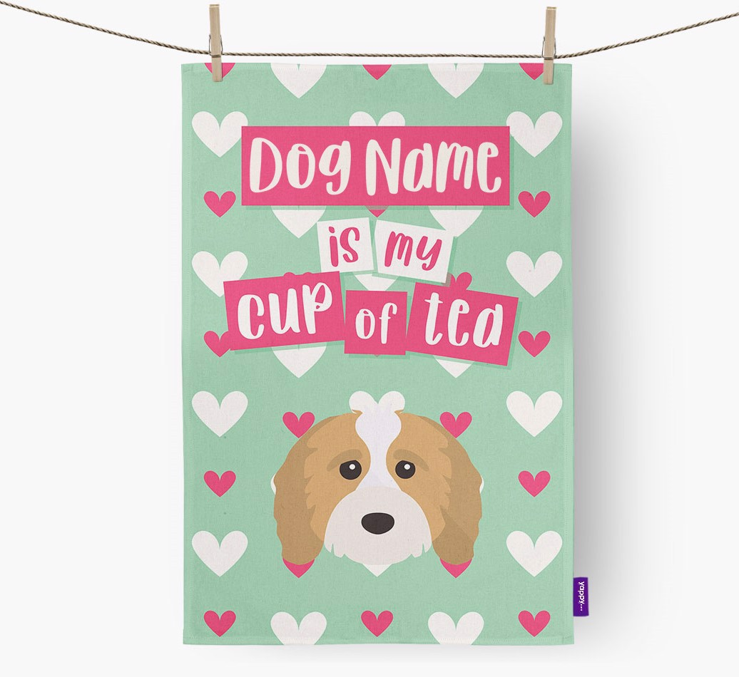 '{dogsName} Is My Cup Of Tea' Tea Towel with Cavapoo Icon