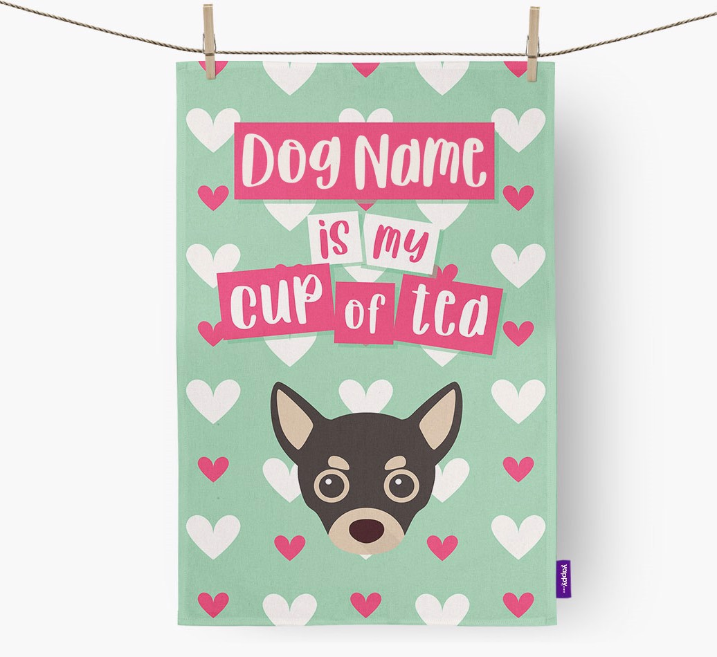 '{dogsName} Is My Cup Of Tea' Tea Towel with Chihuahua Icon