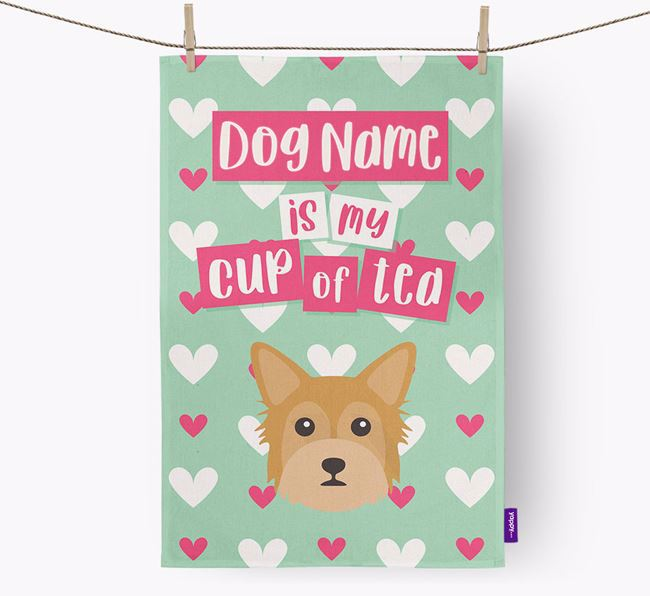 'Your Dog is my cup of tea' Dish Towel with Chorkie Icon