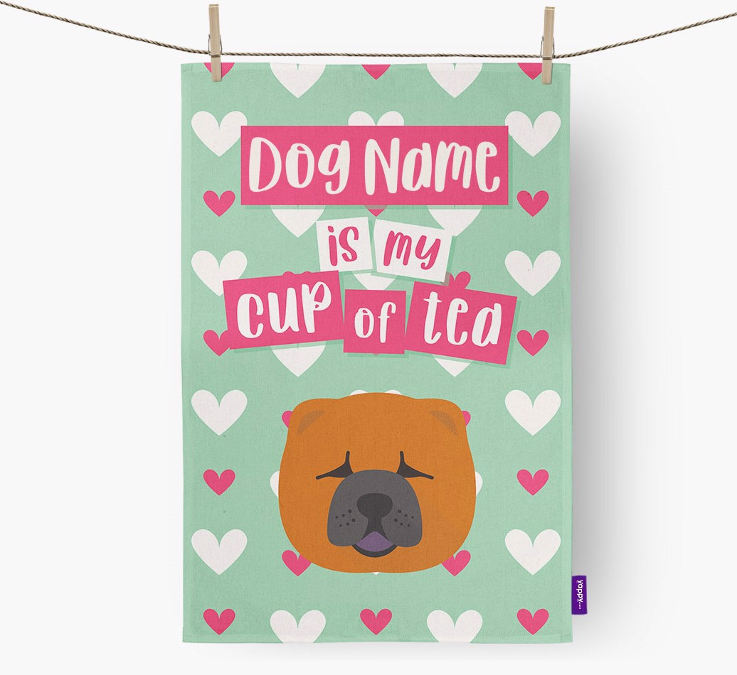 '{dogsName} Is My Cup Of Tea' Tea Towel with Chow Chow Icon
