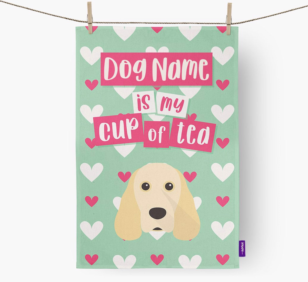 '{dogsName} Is My Cup Of Tea' Tea Towel with Cocker Spaniel Icon