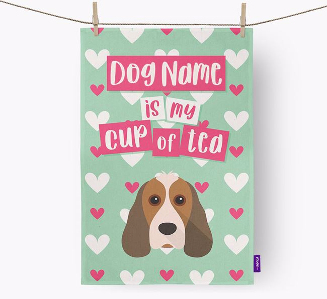 'Your Dog is my cup of tea' Dish Towel with Cocker Spaniel Icon