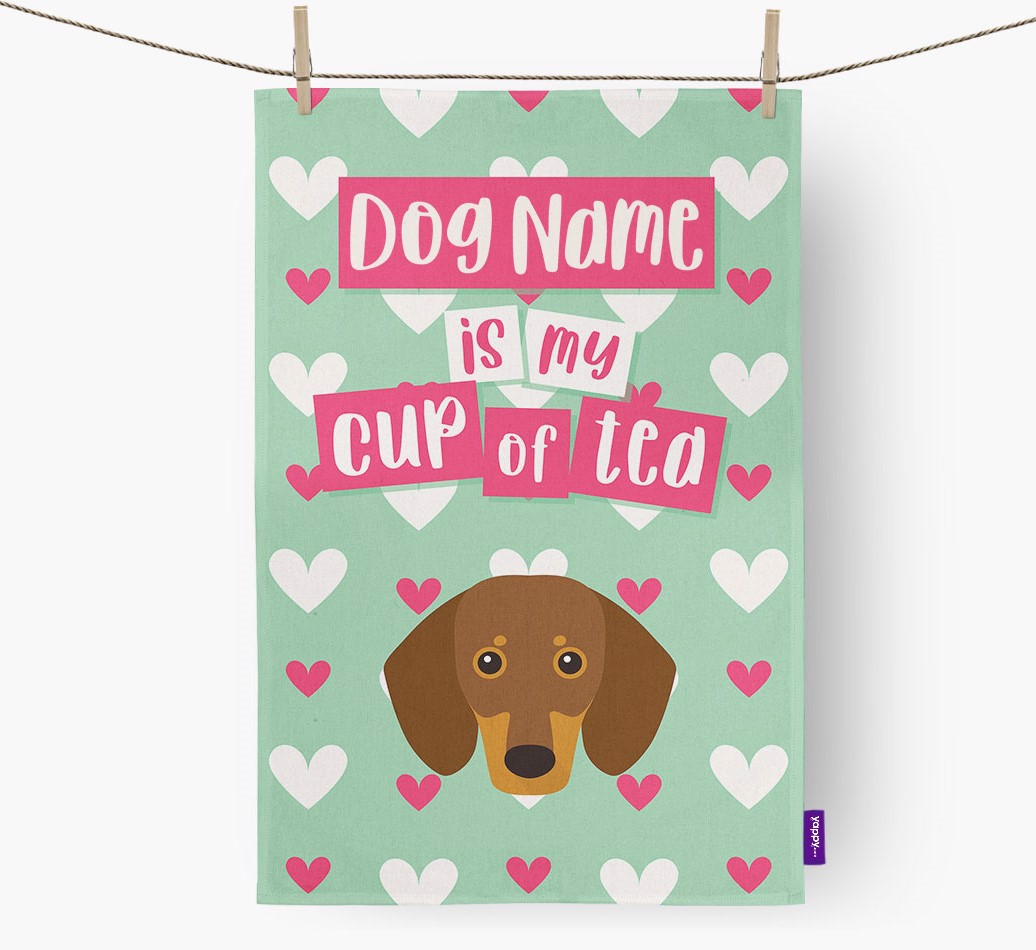 '{dogsName} Is My Cup Of Tea' Tea Towel with Dachshund Icon