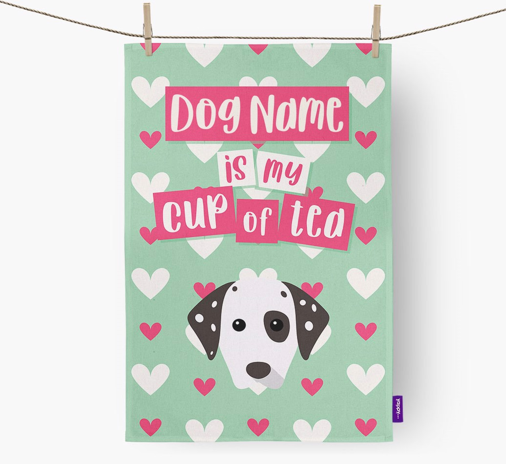 '{dogsName} Is My Cup Of Tea' Tea Towel with Dalmatian Icon