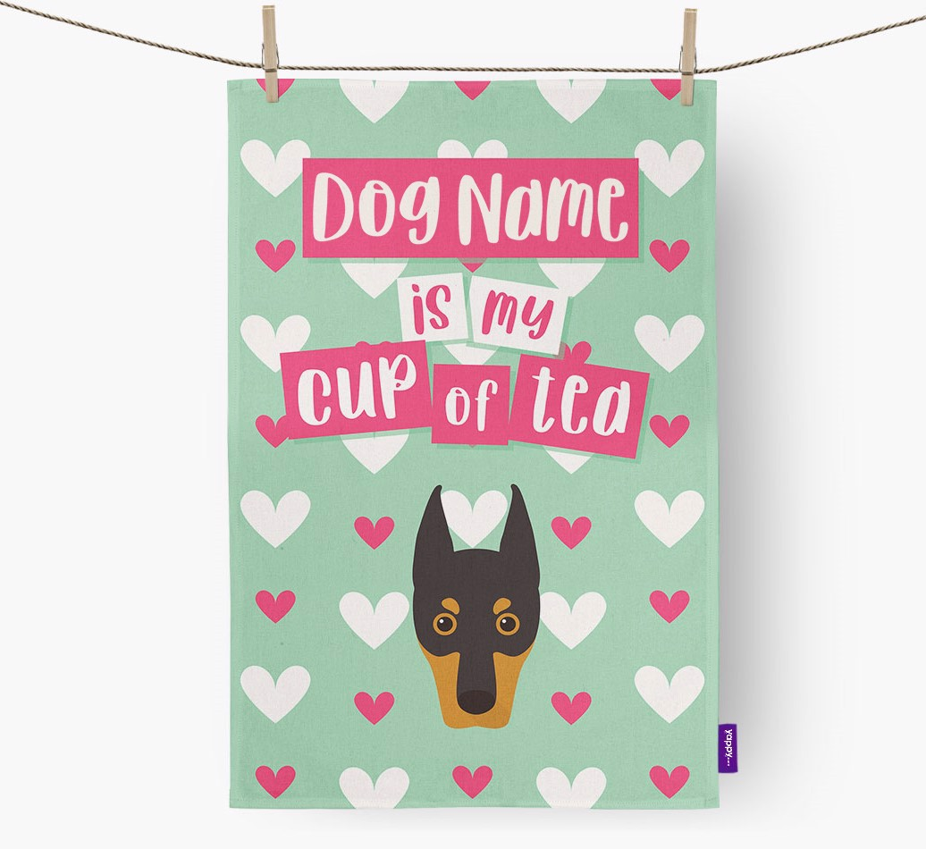 '{dogsName} Is My Cup Of Tea' Tea Towel with Dobermann Icon
