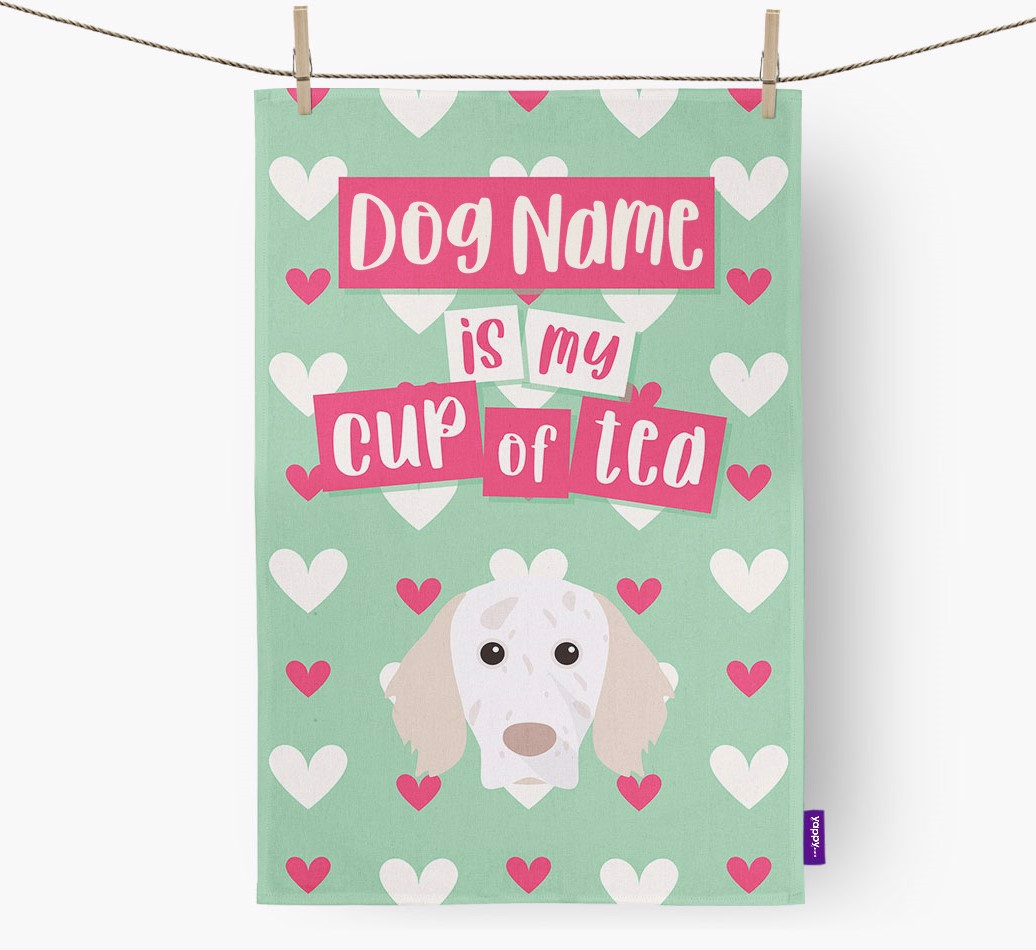 '{dogsName} Is My Cup Of Tea' Tea Towel with English Setter Icon