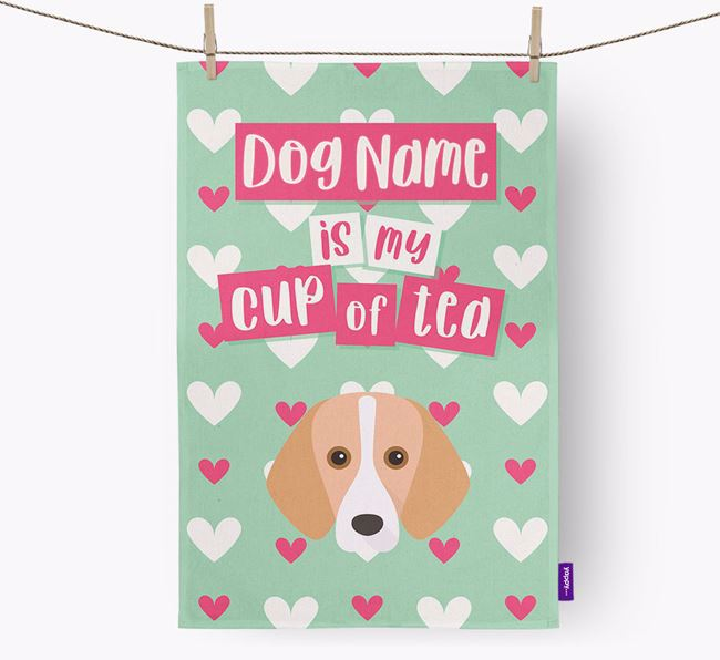 'Your Dog is my cup of tea' Tea Towel with Foxhound Icon