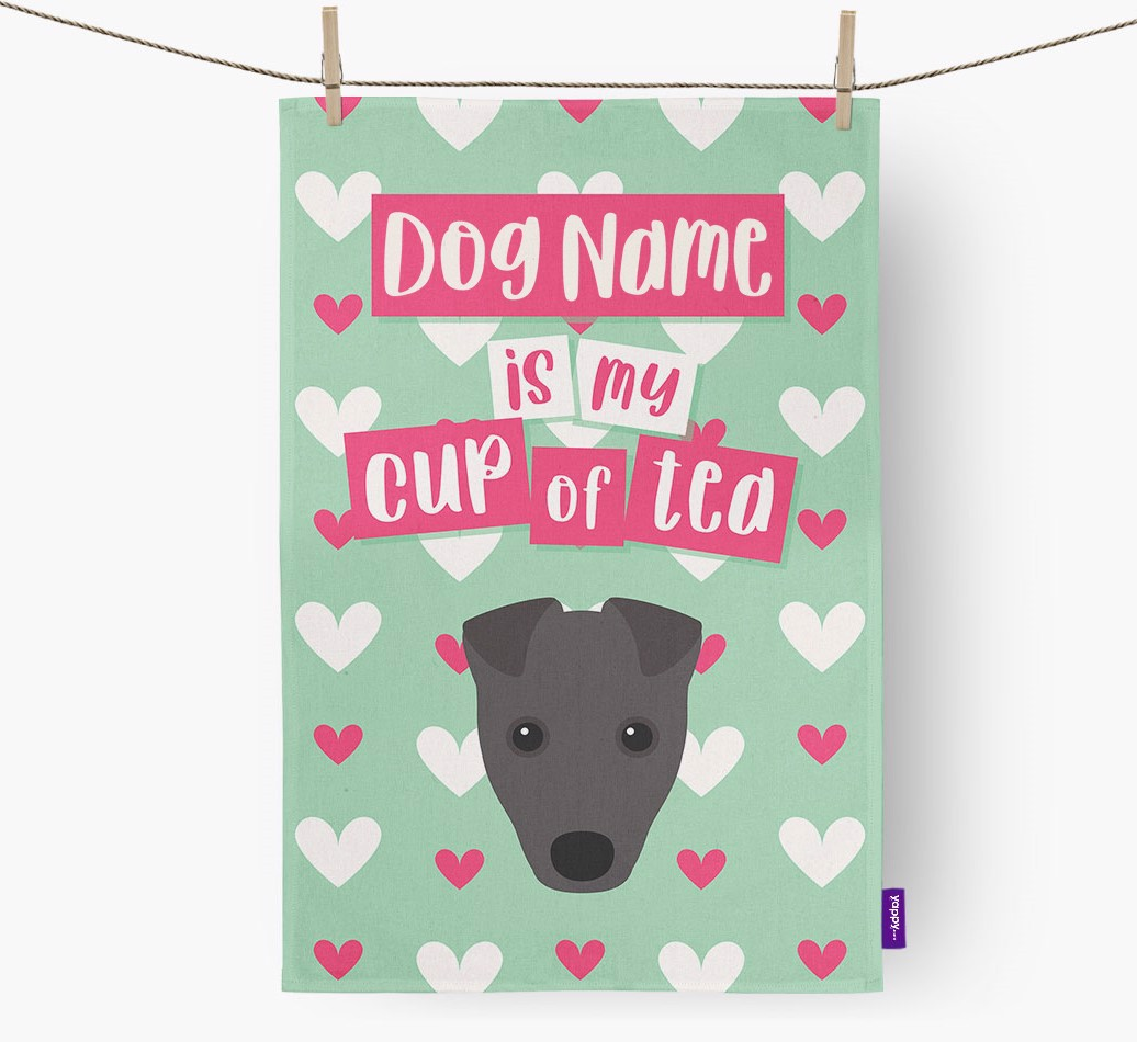 '{dogsName} Is My Cup Of Tea' Tea Towel with Fox Terrier Icon