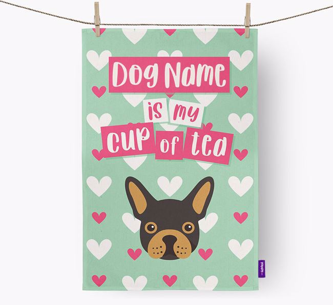 'Your Dog is my cup of tea' Tea Towel with French Bulldog Icon