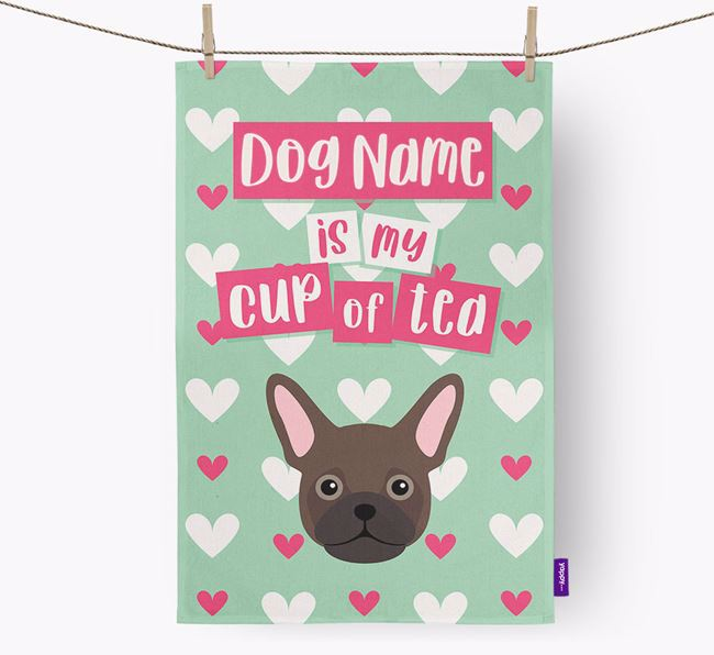'Your Dog is my cup of tea' Dish Towel with Frug Icon