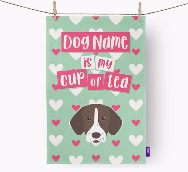 'Your Dog is my cup of tea' Dish Towel with German Shorthaired Pointer Icon