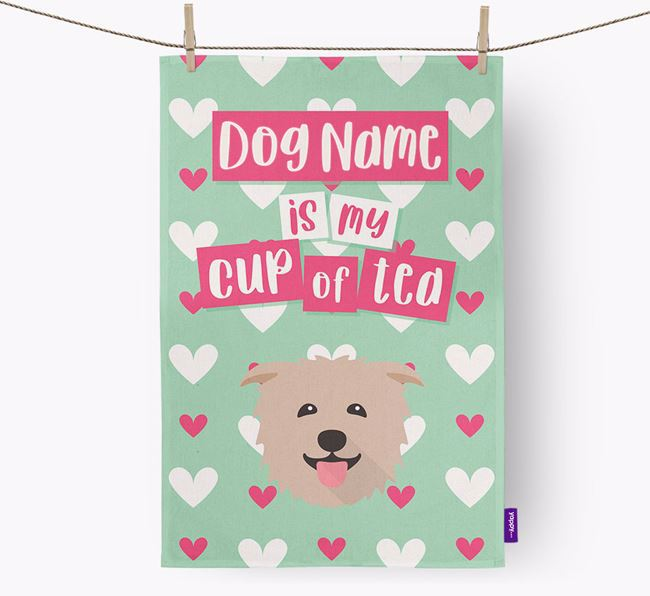 'Your Dog is my cup of tea' Dish Towel with Glen Of Imaal Terrier Icon