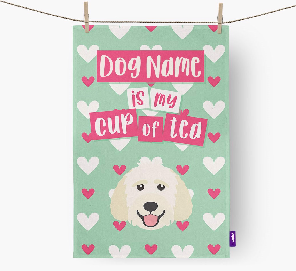 '{dogsName} Is My Cup Of Tea' Tea Towel with Goldendoodle Icon