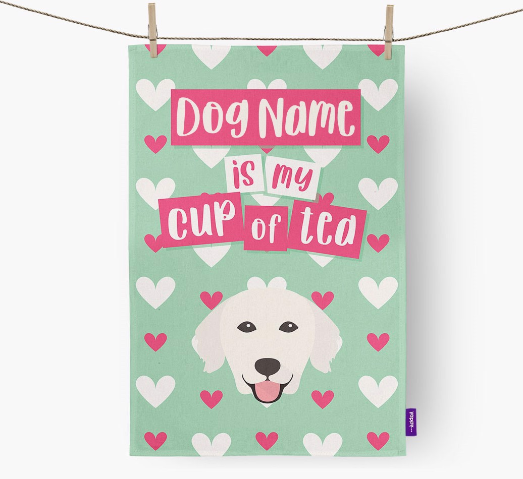 '{dogsName} Is My Cup Of Tea' Tea Towel with Golden Retriever Icon
