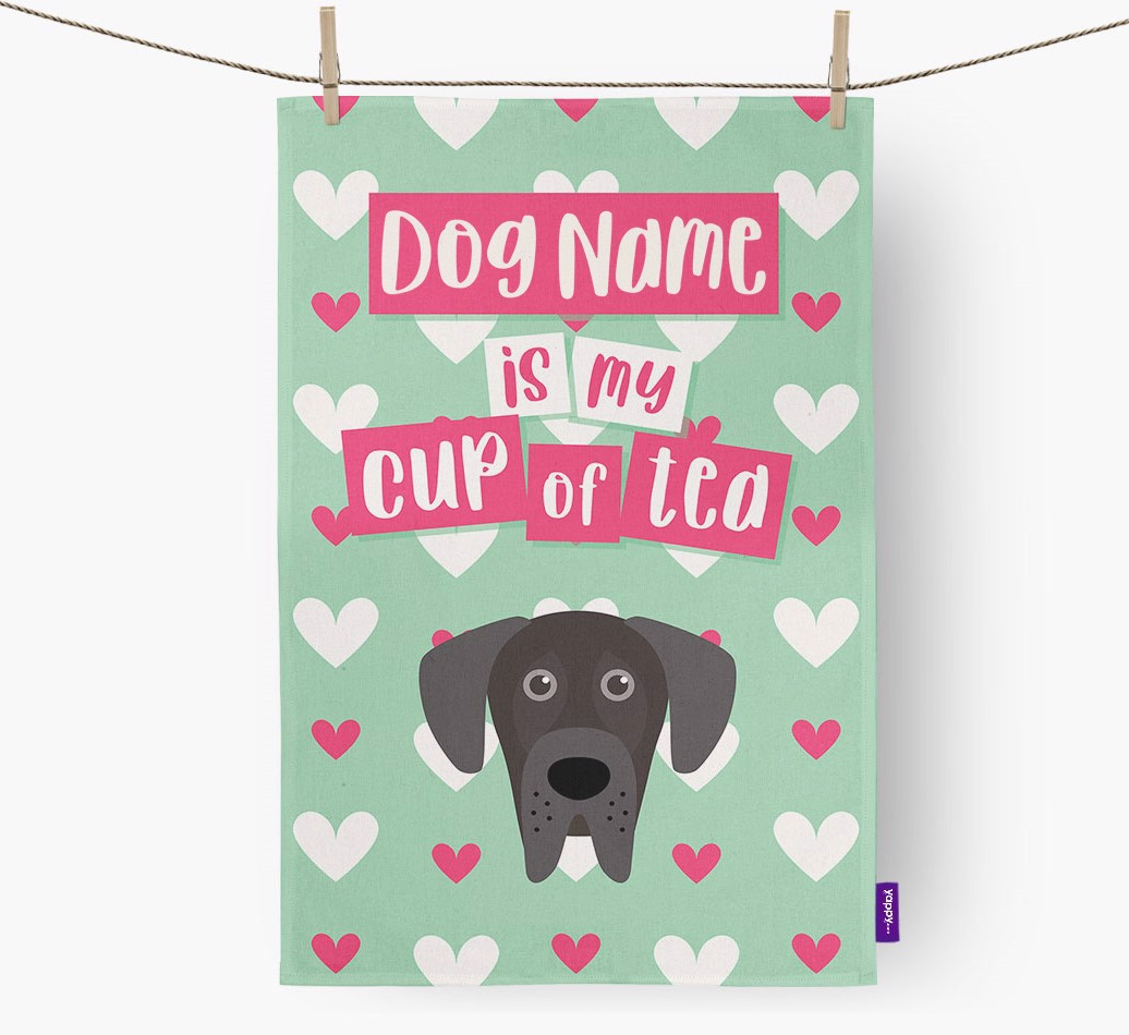 '{dogsName} Is My Cup Of Tea' Tea Towel with Great Dane Icon