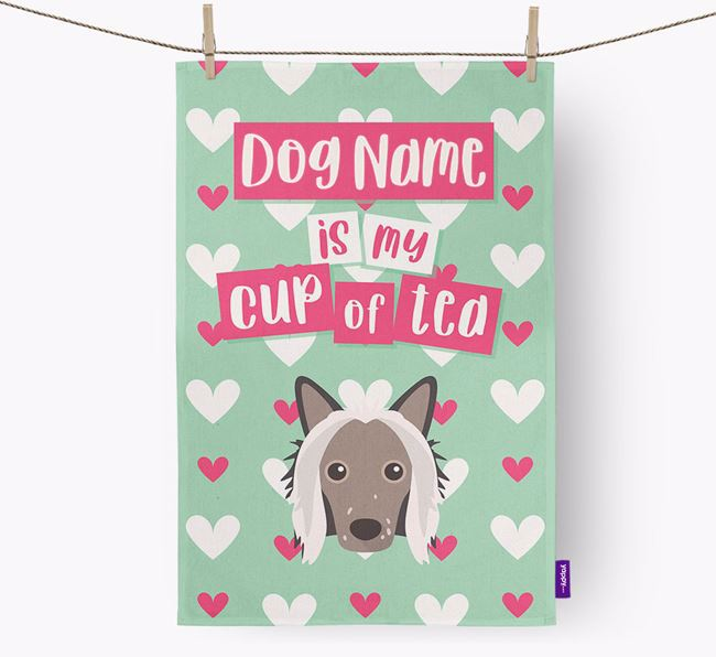 'Your Dog is my cup of tea' Tea Towel with Hairless Chinese Crested Icon