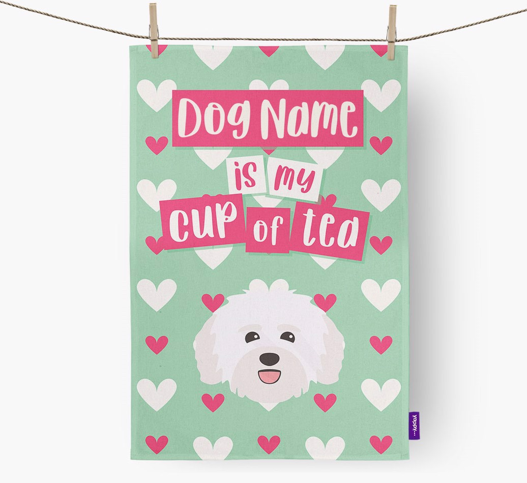 '{dogsName} Is My Cup Of Tea' Tea Towel with Havanese Icon