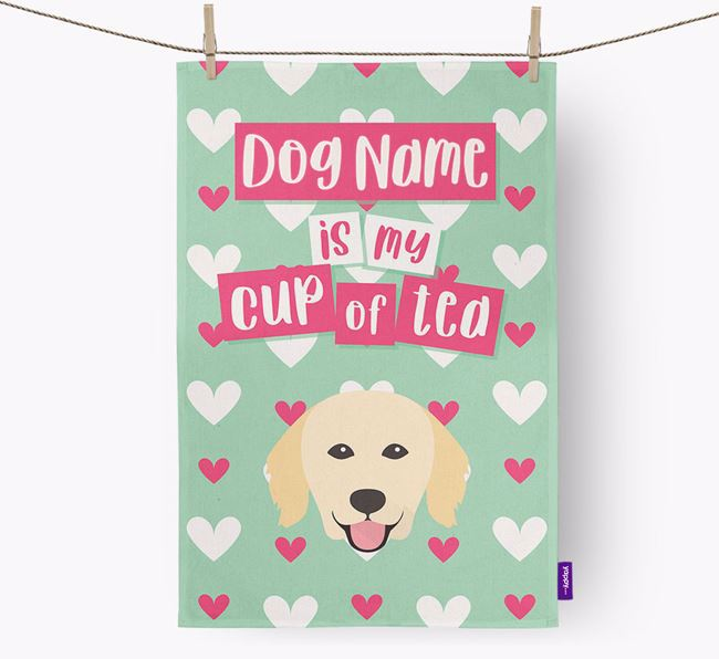 'Your Dog is my cup of tea' Dish Towel with Hovawart Icon