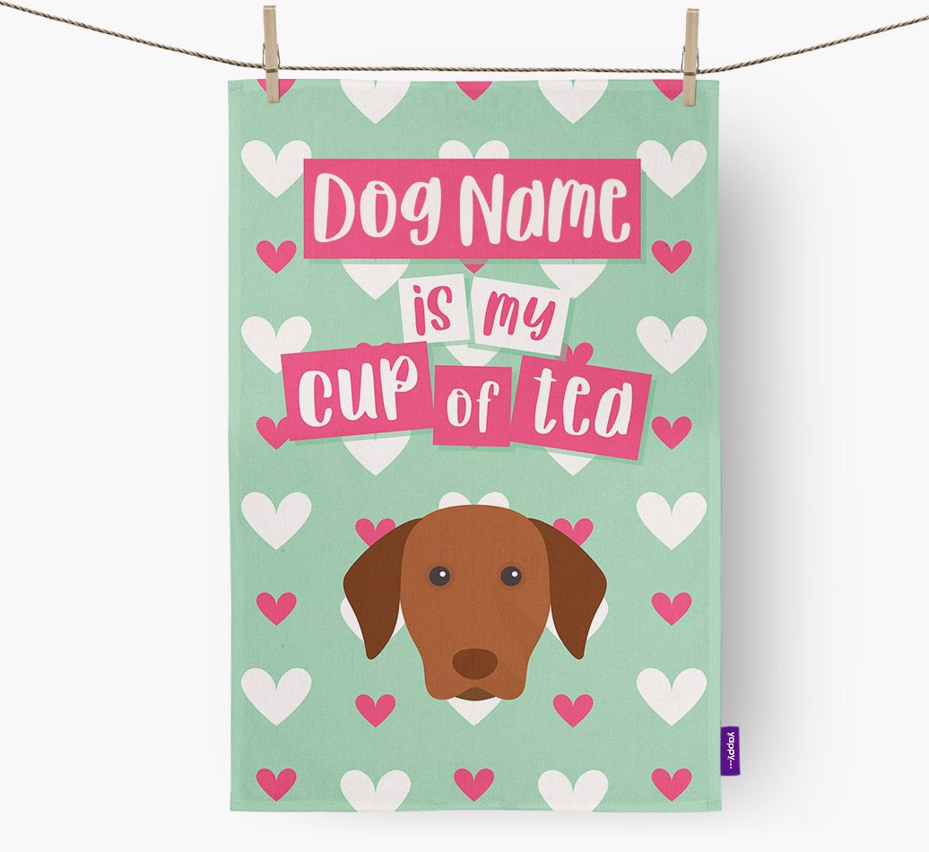 '{dogsName} Is My Cup Of Tea' Tea Towel with Hungarian Vizsla Icon