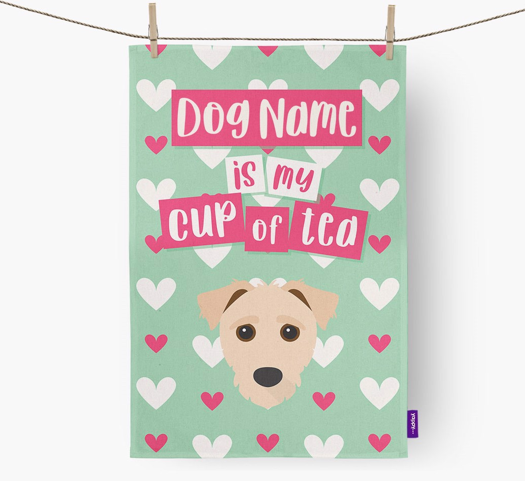 '{dogsName} Is My Cup Of Tea' Tea Towel with Jack-A-Poo Icon