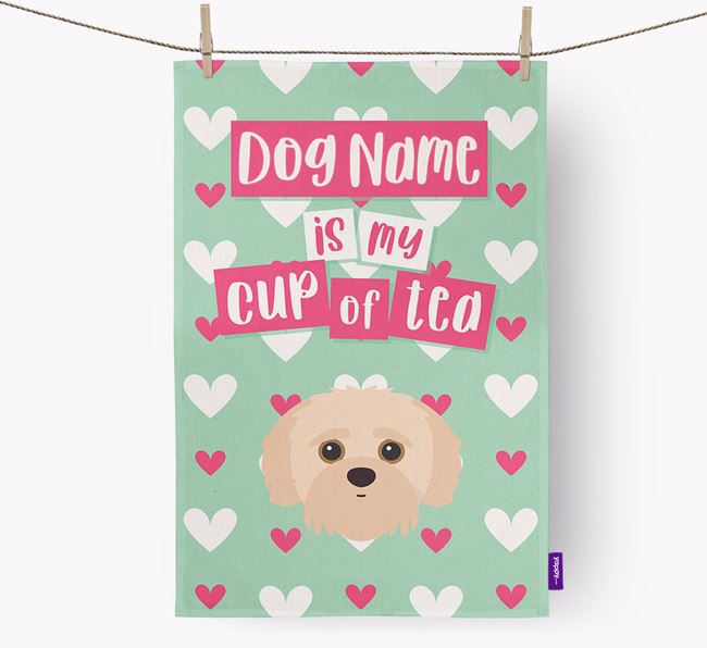 'Your Dog is my cup of tea' Dish Towel with Jack-A-Poo Icon
