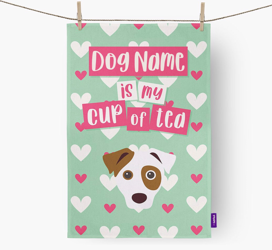 '{dogsName} Is My Cup Of Tea' Tea Towel with Jack Russell Terrier Icon