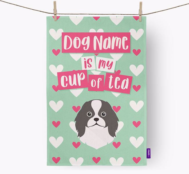 'Your Dog is my cup of tea' Dish Towel with Japanese Chin Icon