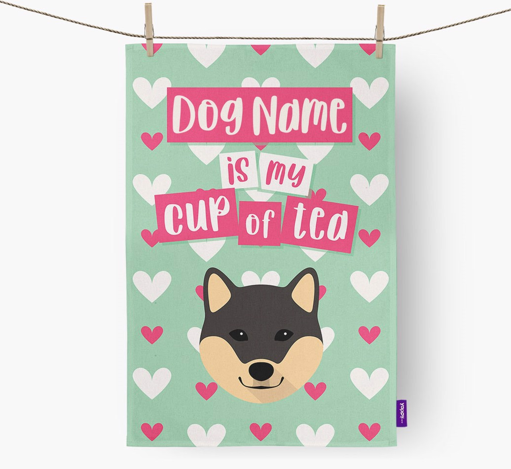'{dogsName} Is My Cup Of Tea' Tea Towel with Japanese Shiba Icon