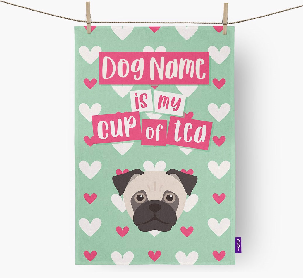 '{dogsName} Is My Cup Of Tea' Tea Towel with Jug Icon