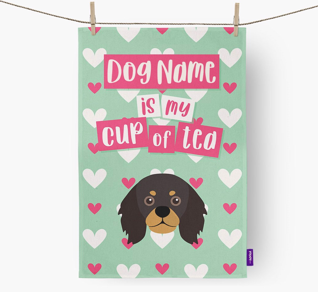'{dogsName} Is My Cup Of Tea' Tea Towel with King Charles Spaniel Icon