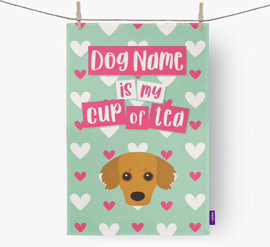 '{dogsName} Is My Cup Of Tea' Tea Towel with Kokoni Icon