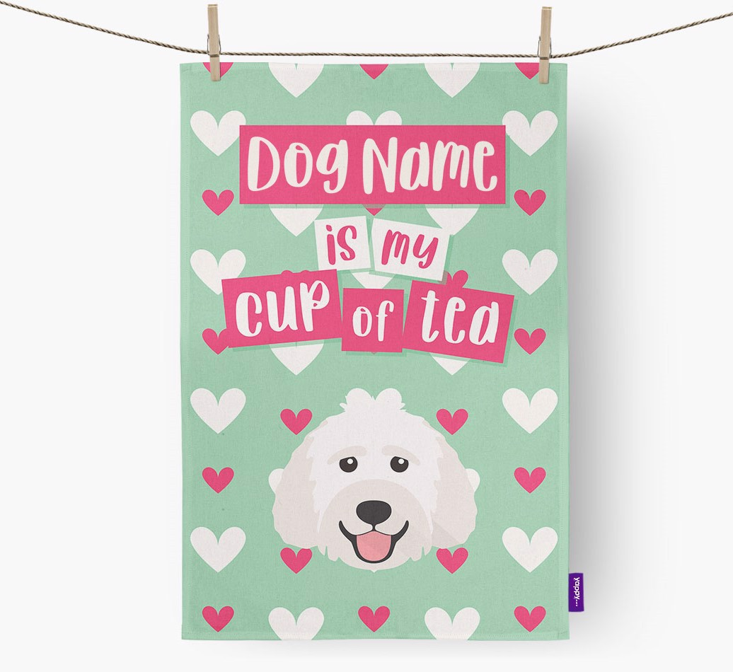 '{dogsName} Is My Cup Of Tea' Tea Towel with Labradoodle Icon