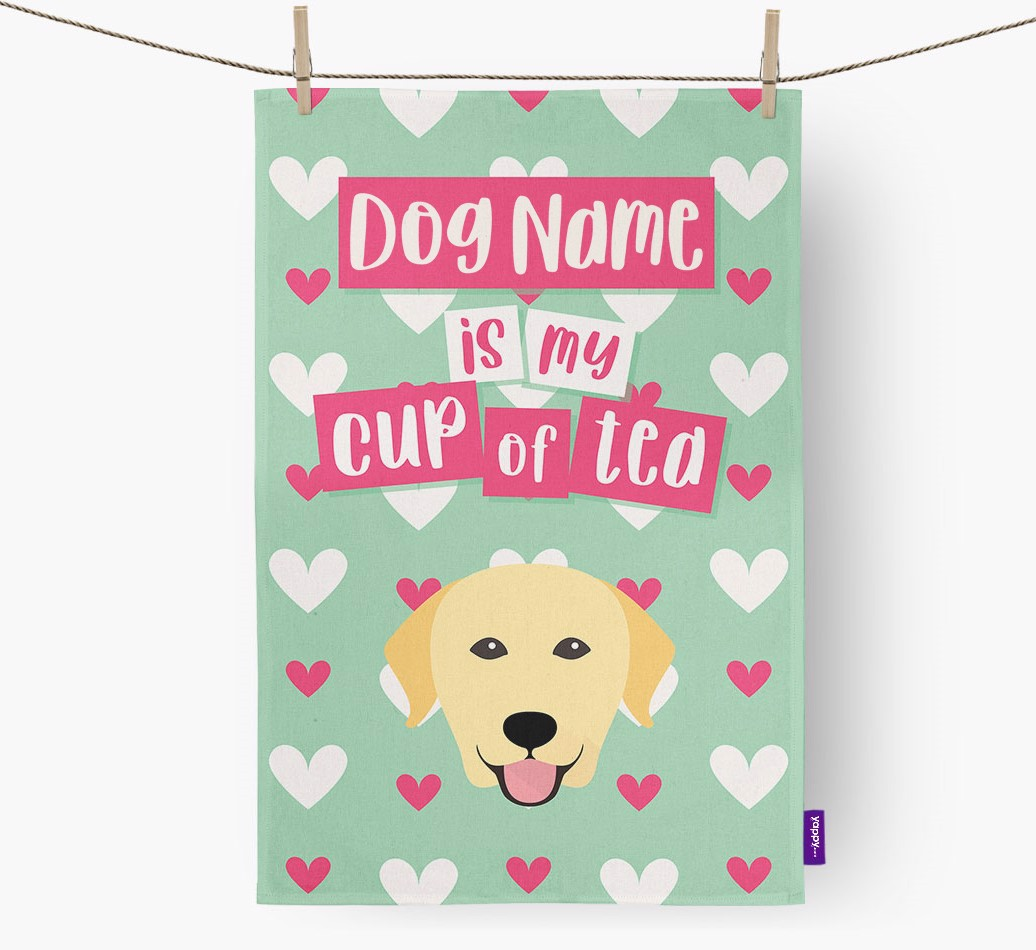 '{dogsName} Is My Cup Of Tea' Tea Towel with Labrador Retriever Icon
