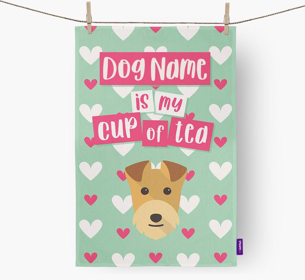 '{dogsName} Is My Cup Of Tea' Tea Towel with Lakeland Terrier Icon