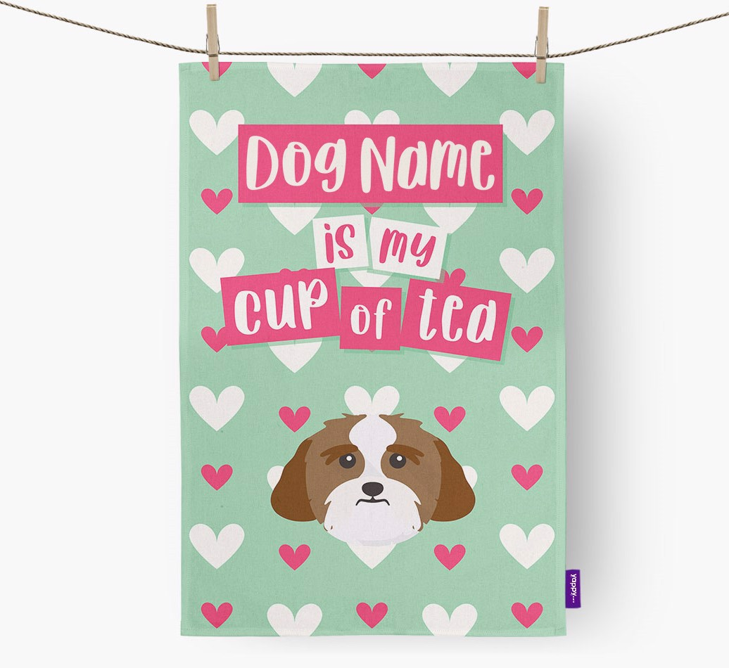'{dogsName} Is My Cup Of Tea' Tea Towel with Lhasa Apso Icon