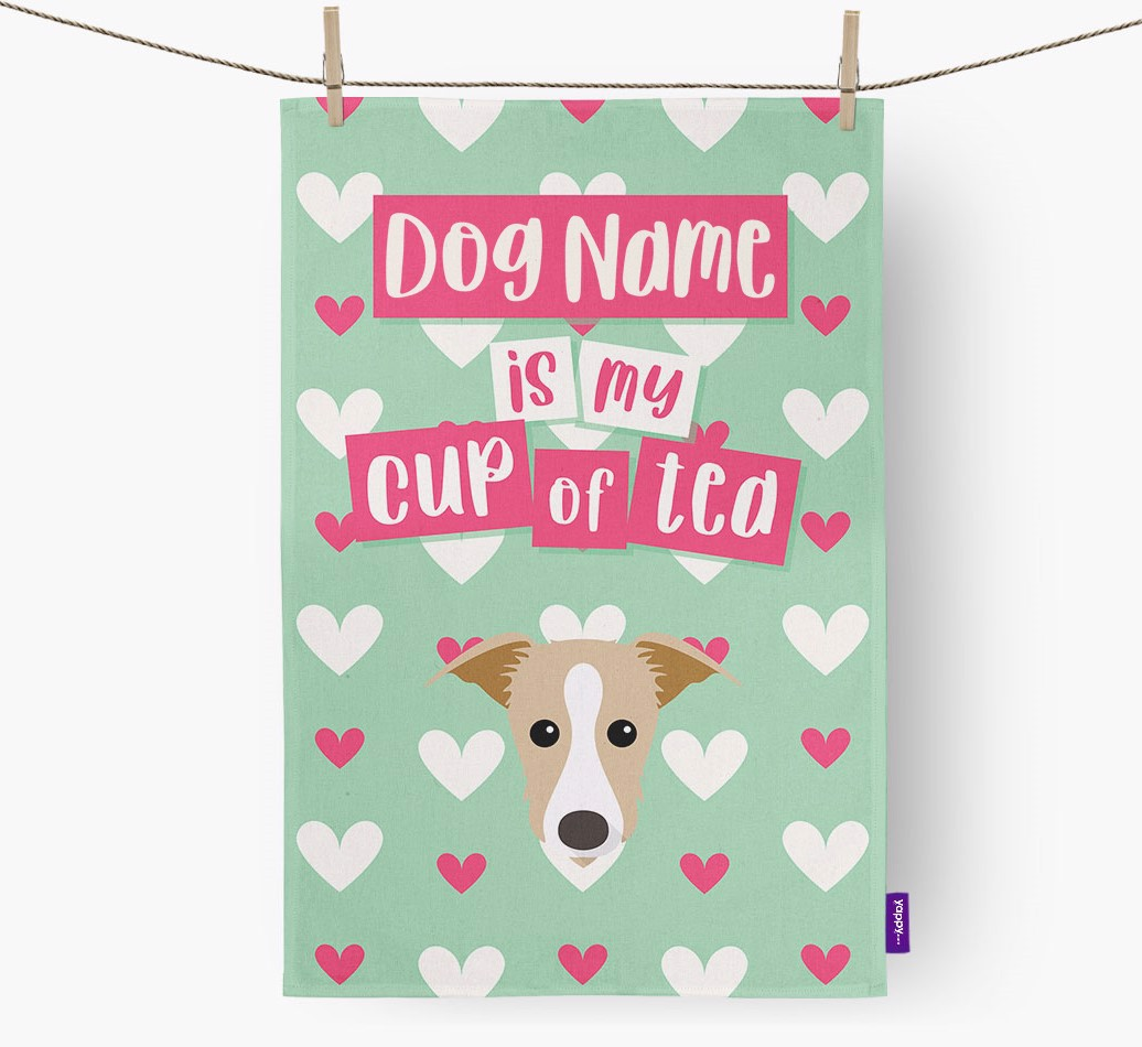 '{dogsName} Is My Cup Of Tea' Tea Towel with Lurcher Icon