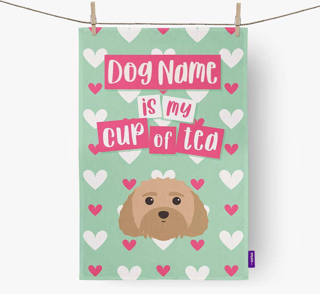 '{dogsName} Is My Cup Of Tea' Tea Towel with Malti-Poo Icon