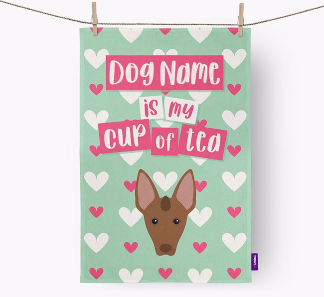 'Your Dog is my cup of tea' Tea Towel with Mexican Hairless Icon