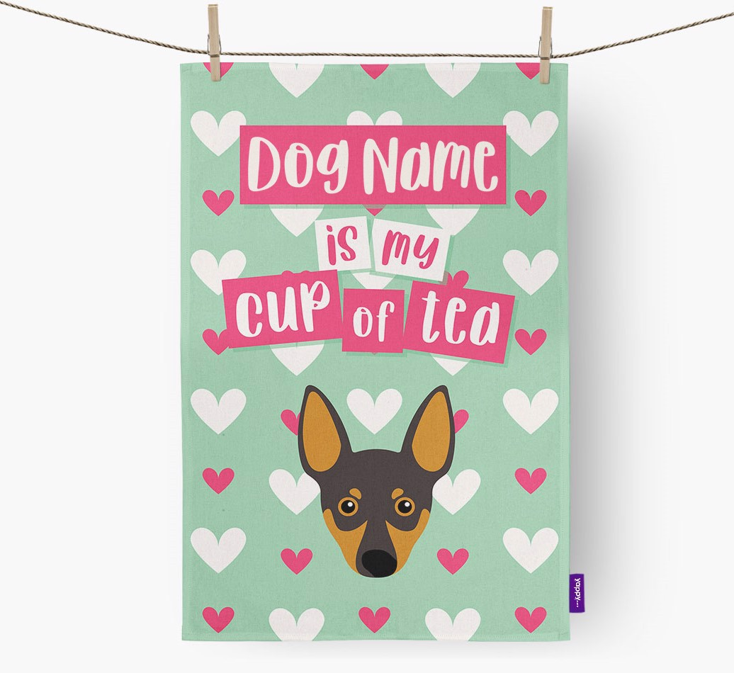 '{dogsName} Is My Cup Of Tea' Tea Towel with Miniature Pinscher Icon