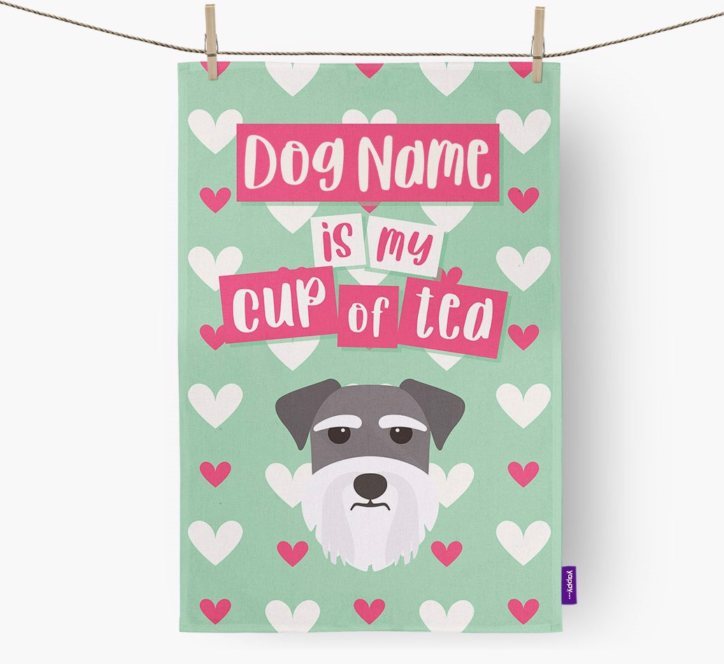 '{dogsName} Is My Cup Of Tea' Tea Towel with Miniature Schnauzer Icon