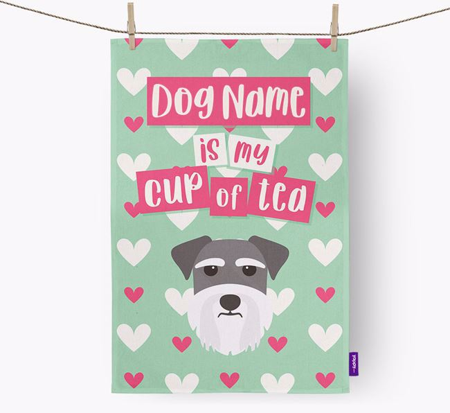 'Your Dog is my cup of tea' Tea Towel with Miniature Schnauzer Icon