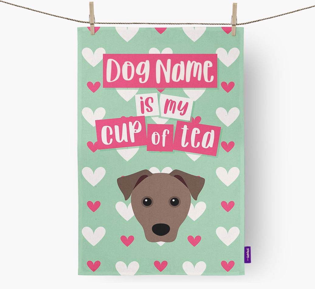 '{dogsName} Is My Cup Of Tea' Tea Towel with Mixed Breed Icon