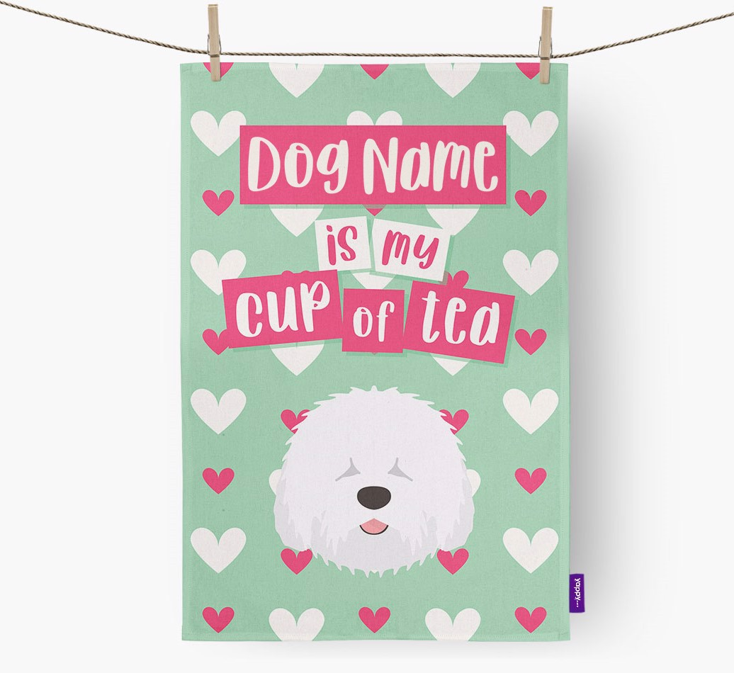 '{dogsName} Is My Cup Of Tea' Tea Towel with Old English Sheepdog Icon