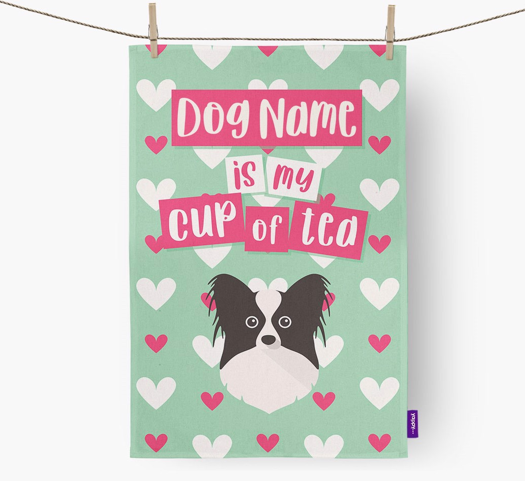 '{dogsName} Is My Cup Of Tea' Tea Towel with Papillon Icon