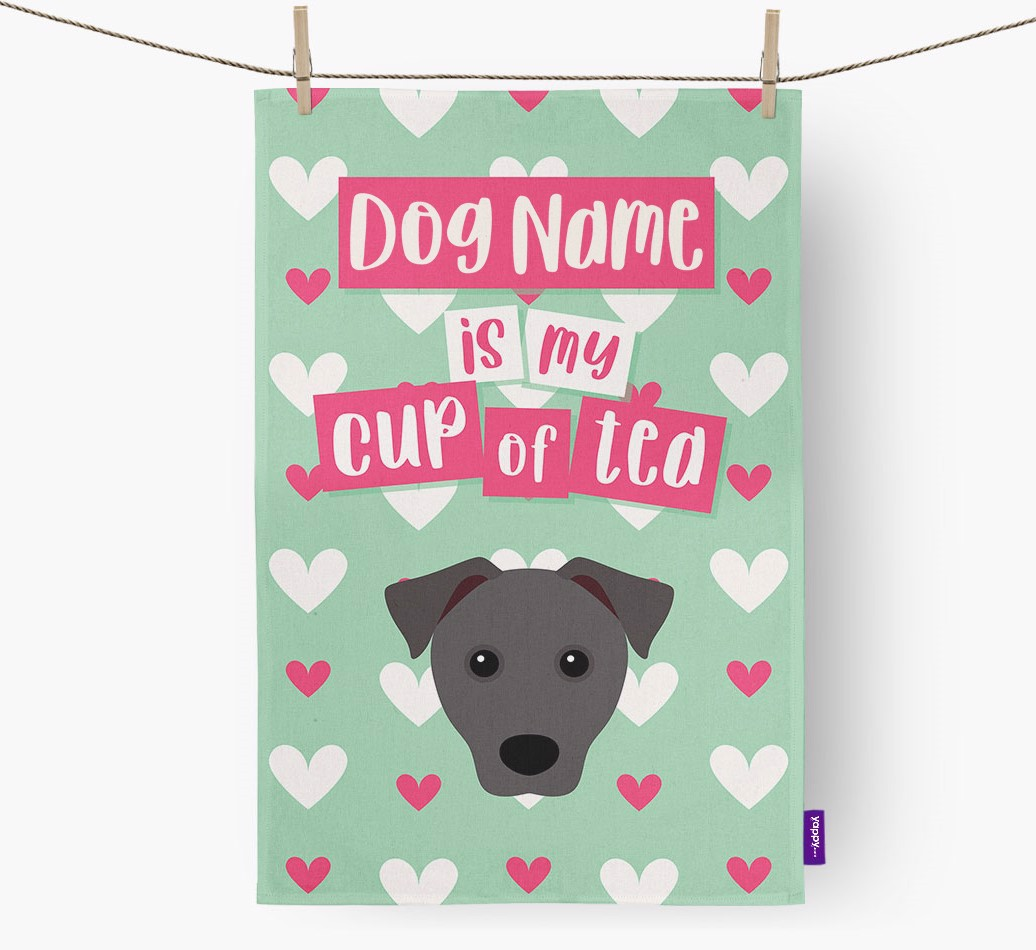 '{dogsName} Is My Cup Of Tea' Tea Towel with Patterdale Terrier Icon