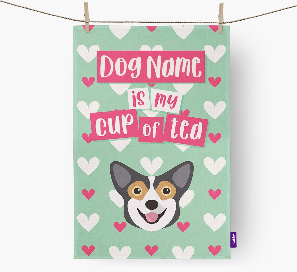 '{dogsName} Is My Cup Of Tea' Tea Towel with Pembroke Welsh Corgi Icon