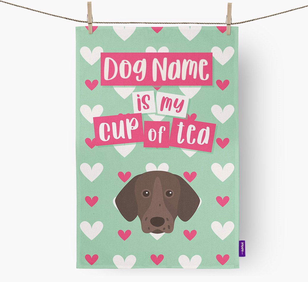 '{dogsName} Is My Cup Of Tea' Tea Towel with Pointer Icon