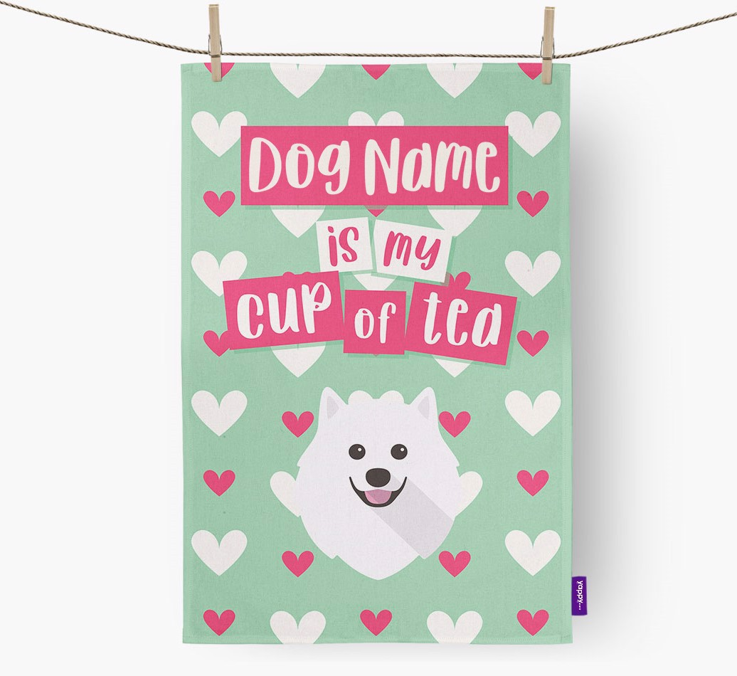 '{dogsName} Is My Cup Of Tea' Tea Towel with Pomeranian Icon
